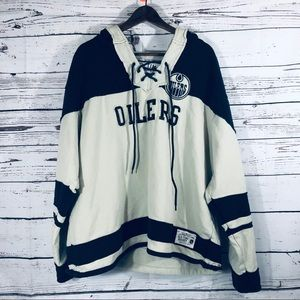 NHL Old Time Hockey Lace Up Oilers Jersey Hoodie L